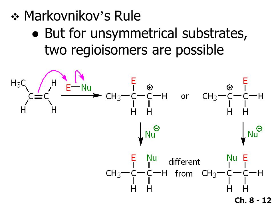 Markovnikov's Rule But for unsymmetrical substrates, two regioisomers are possible