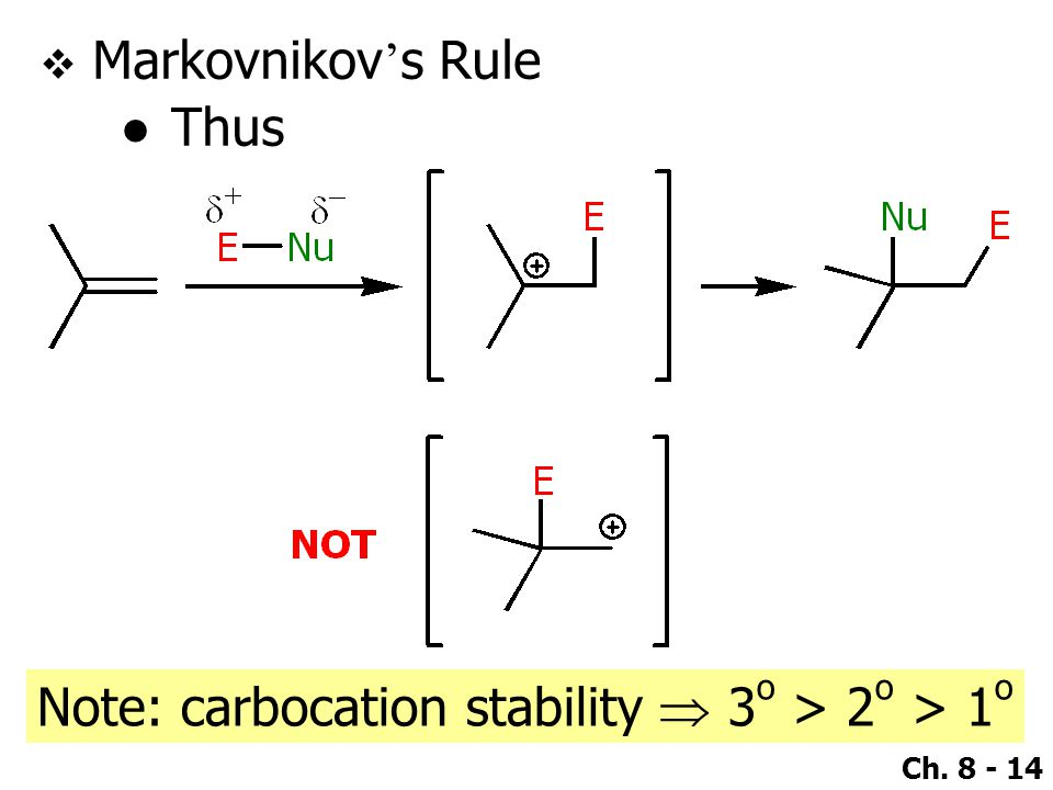 Markovnikov's Rule Thus Note: carbocation stability  3o > 2o > 1o