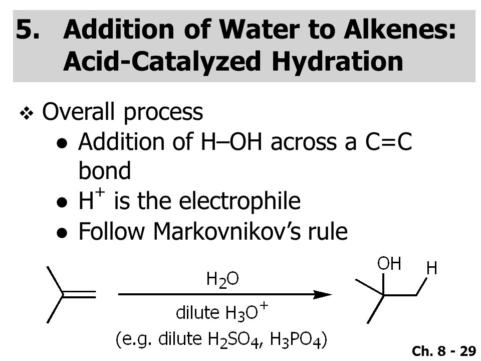 Addition of Water to Alkenes: Acid-Catalyzed Hydration