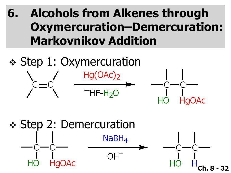 Alcohols from Alkenes through Oxymercuration–Demercuration: Markovnikov Addition