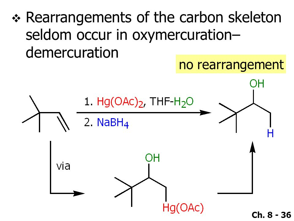 Rearrangements of the carbon skeleton seldom occur in oxymercuration–demercuration