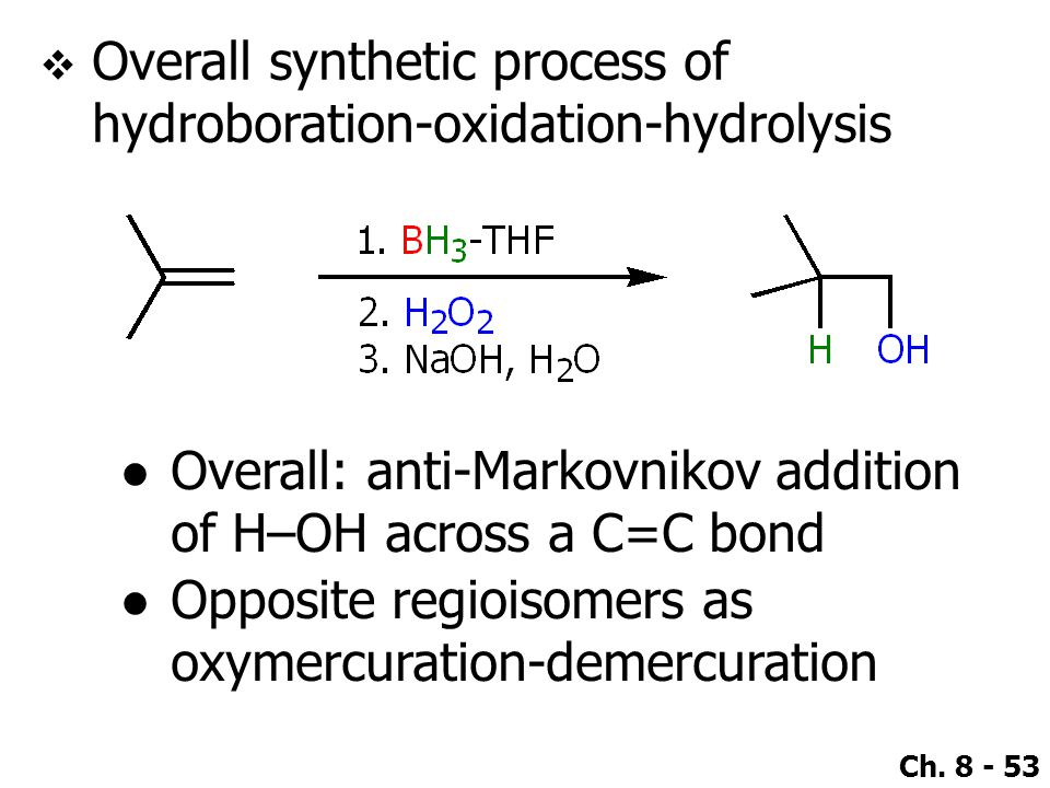 Overall synthetic process of hydroboration-oxidation-hydrolysis