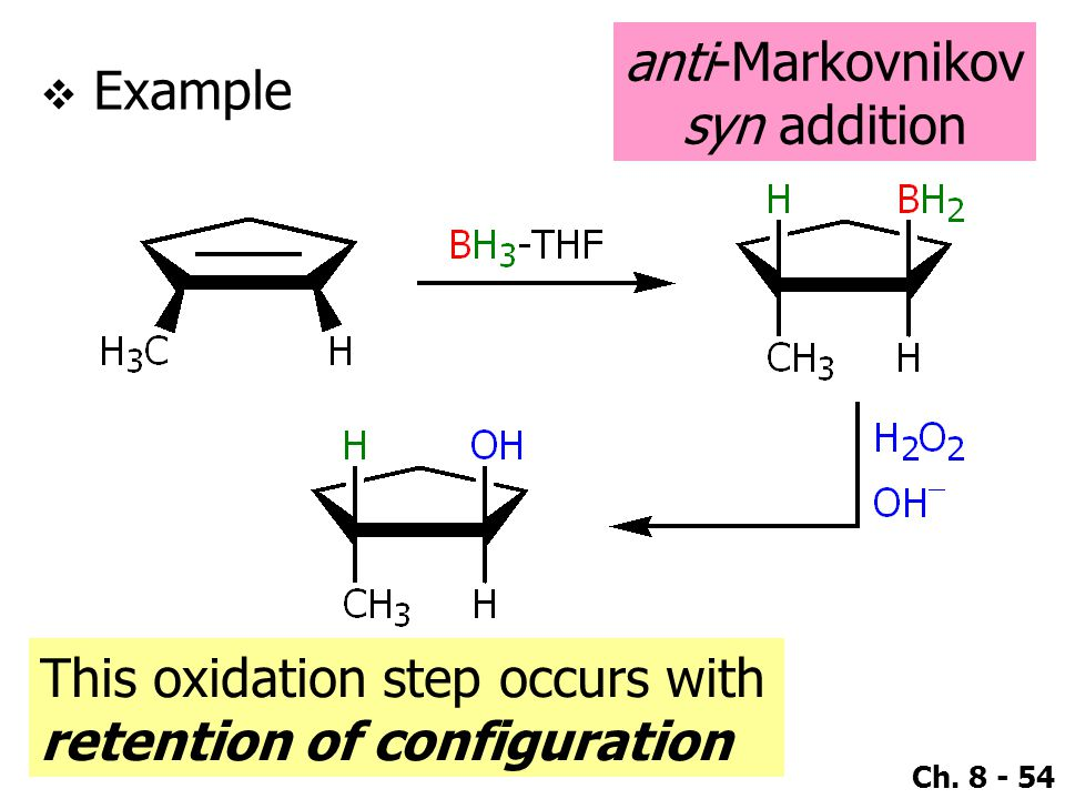 anti-Markovnikov syn addition Example This oxidation step occurs with retention of configuration