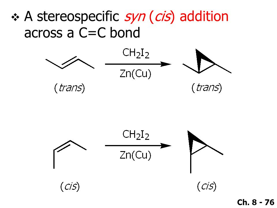 A stereospecific syn (cis) addition across a C=C bond