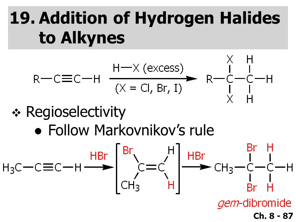 Addition of Hydrogen Halides to Alkynes