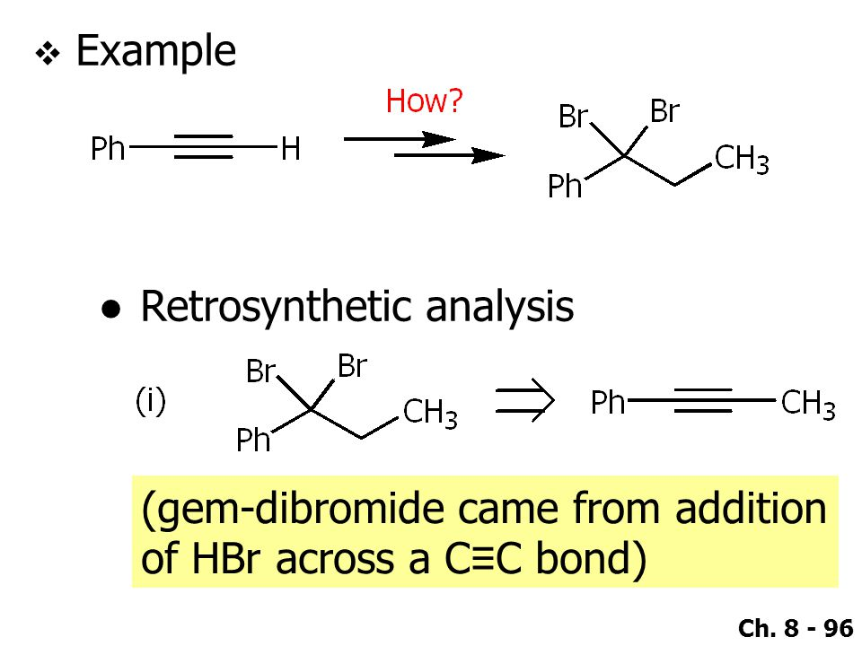 Example Retrosynthetic analysis (gem-dibromide came from addition of HBr across a C≡C bond)