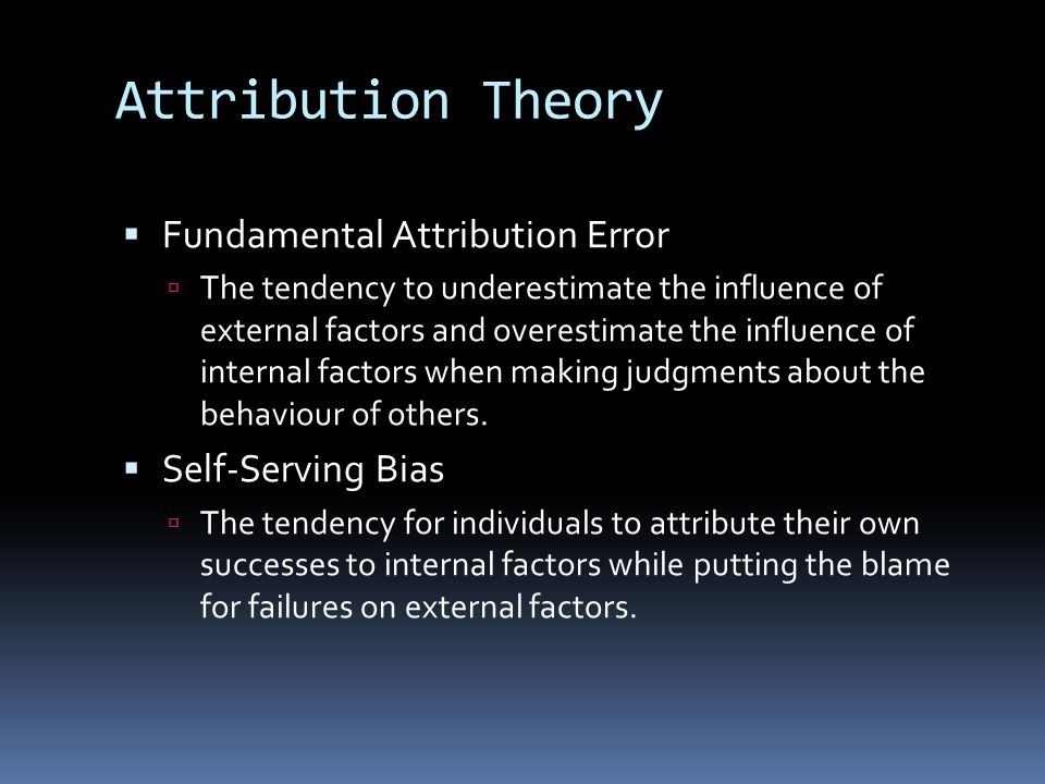 Attribution Theory Fundamental Attribution Error Self-Serving Bias