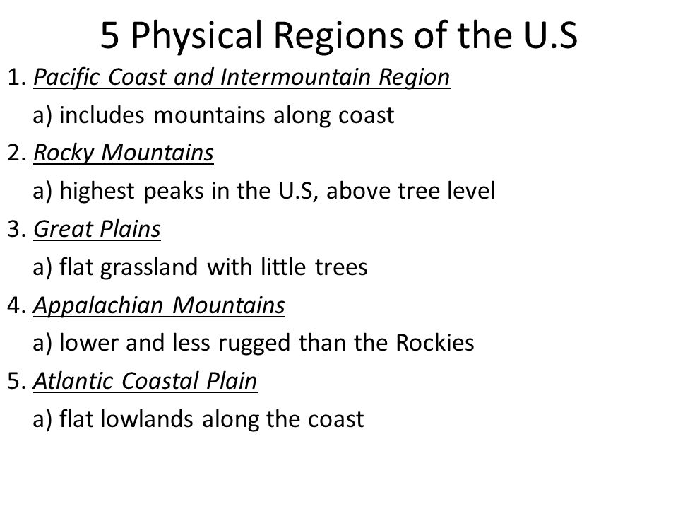5 Physical Regions of the U.S