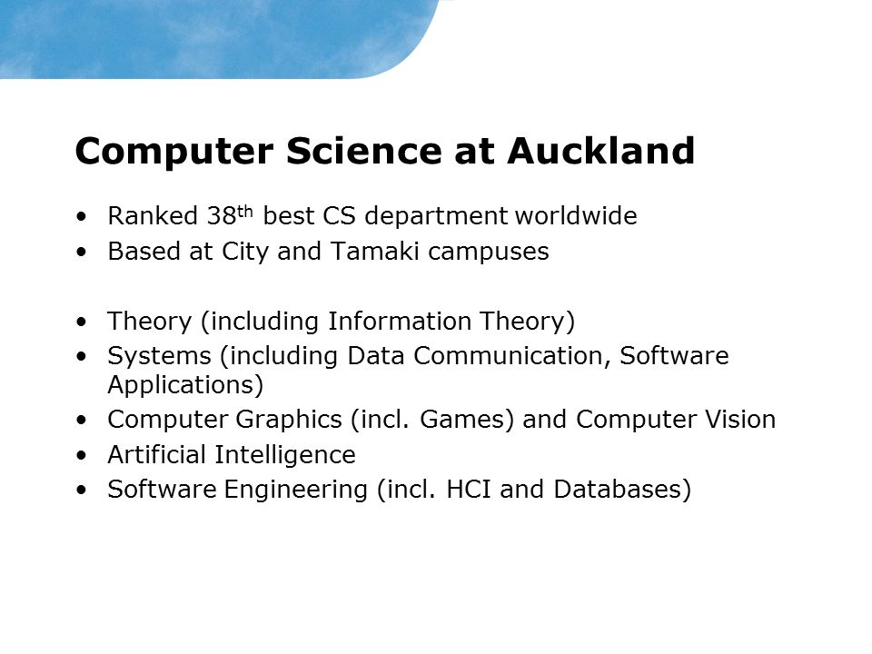 Computer Science at Auckland