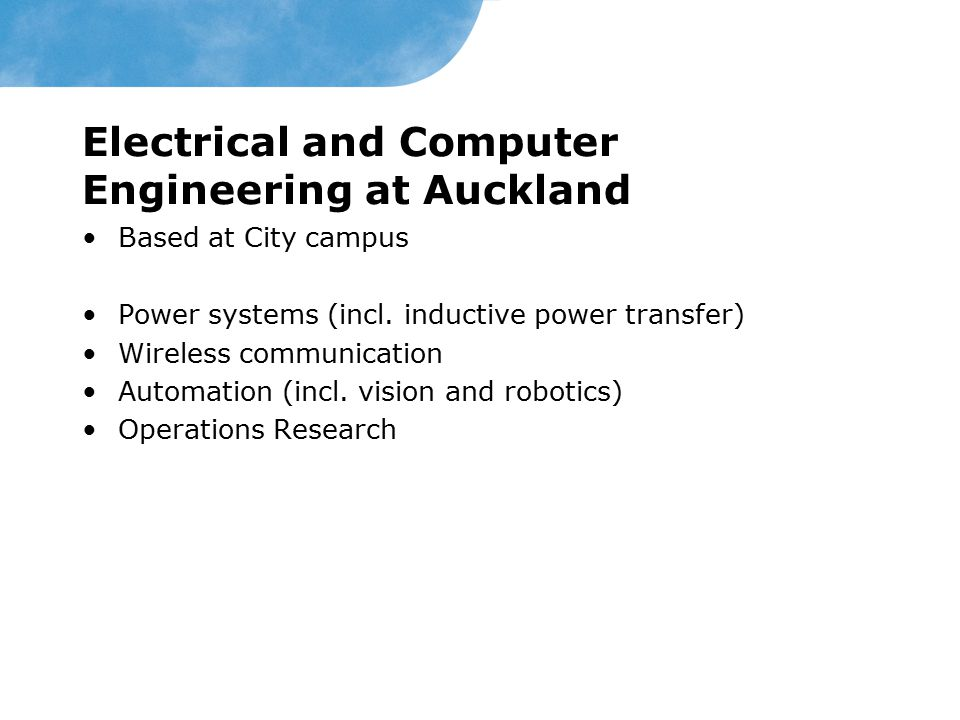 Electrical and Computer Engineering at Auckland