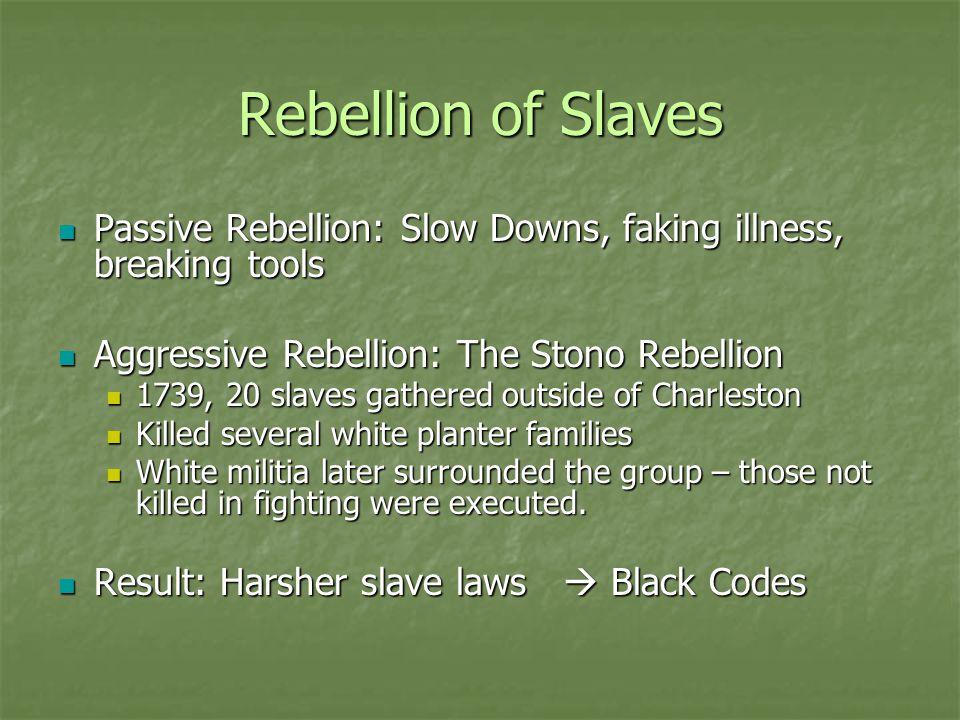 Rebellion of Slaves Passive Rebellion: Slow Downs, faking illness, breaking tools. Aggressive Rebellion: The Stono Rebellion.