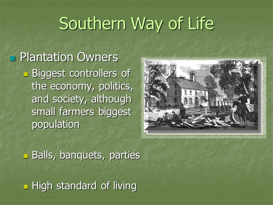 Southern Way of Life Plantation Owners