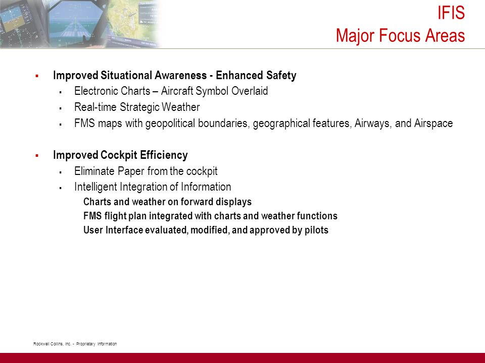 IFIS Major Focus Areas Improved Situational Awareness - Enhanced Safety. Electronic Charts – Aircraft Symbol Overlaid.