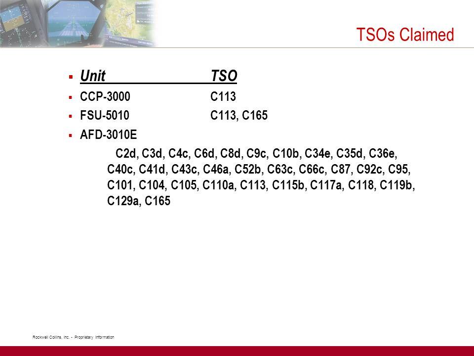 TSOs Claimed Unit TSO CCP-3000 C113 FSU-5010 C113, C165 AFD-3010E