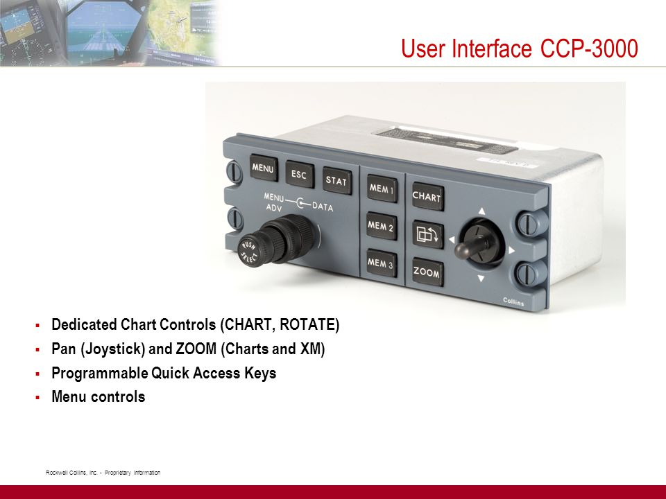User Interface CCP-3000 Dedicated Chart Controls (CHART, ROTATE)