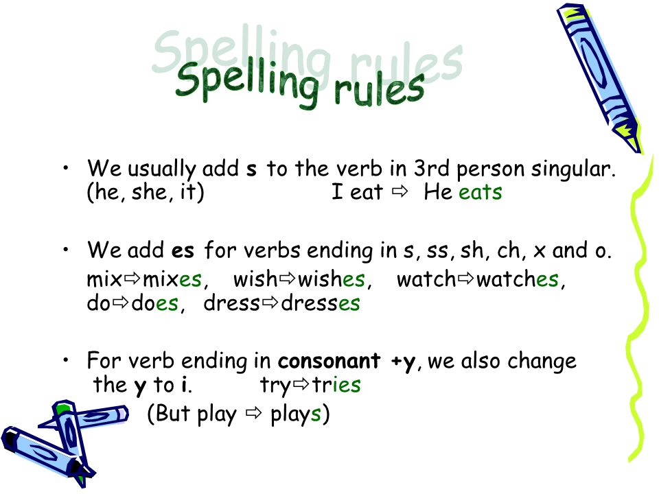Spelling rules We usually add s to the verb in 3rd person singular. (he, she, it) I eat  He eats.