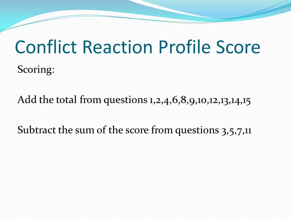 Conflict Reaction Profile Score