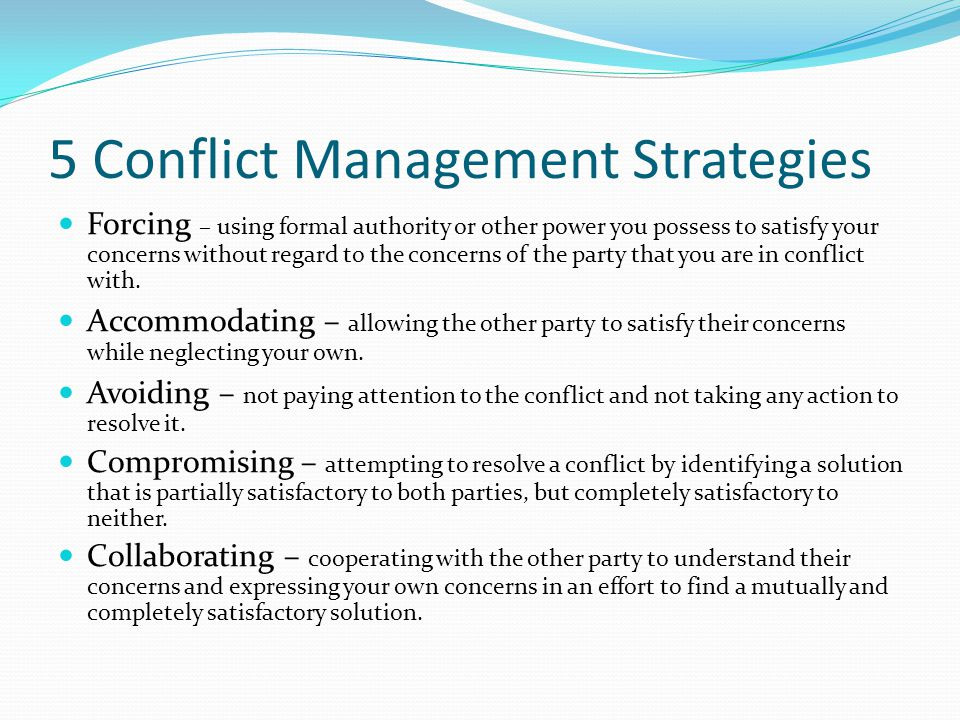conflict resolution strategies in the workplace Conflict resolution skills are a job requirement for many different types of positions that's because conflict within organizations can reduce productivity and create a difficult work environment, leading to unwanted turnover in staff and reduced morale.