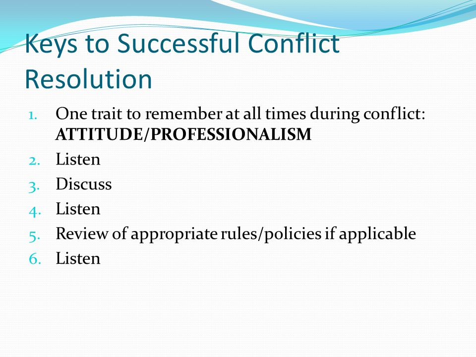 Keys to Successful Conflict Resolution
