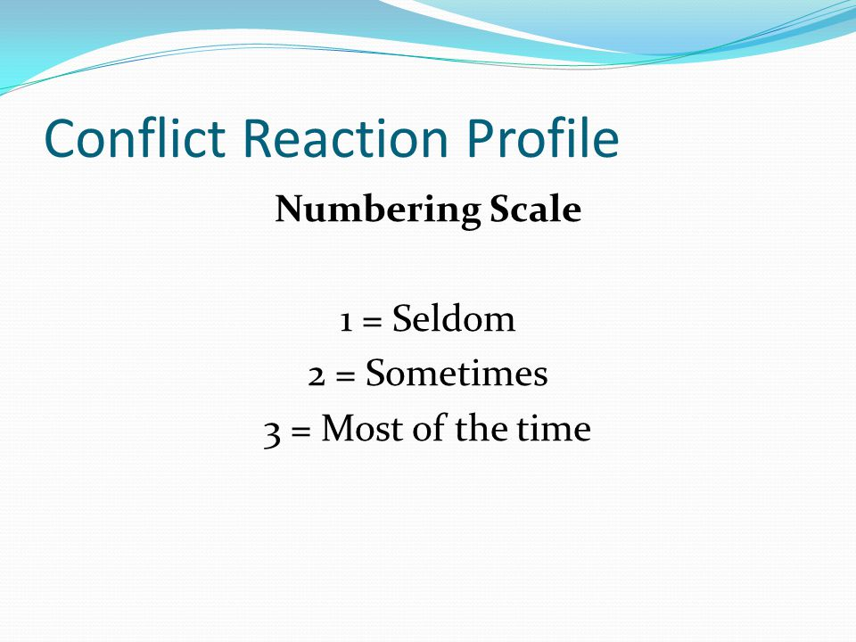Conflict Reaction Profile