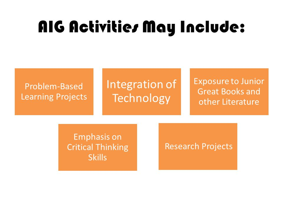 AIG Activities May Include: