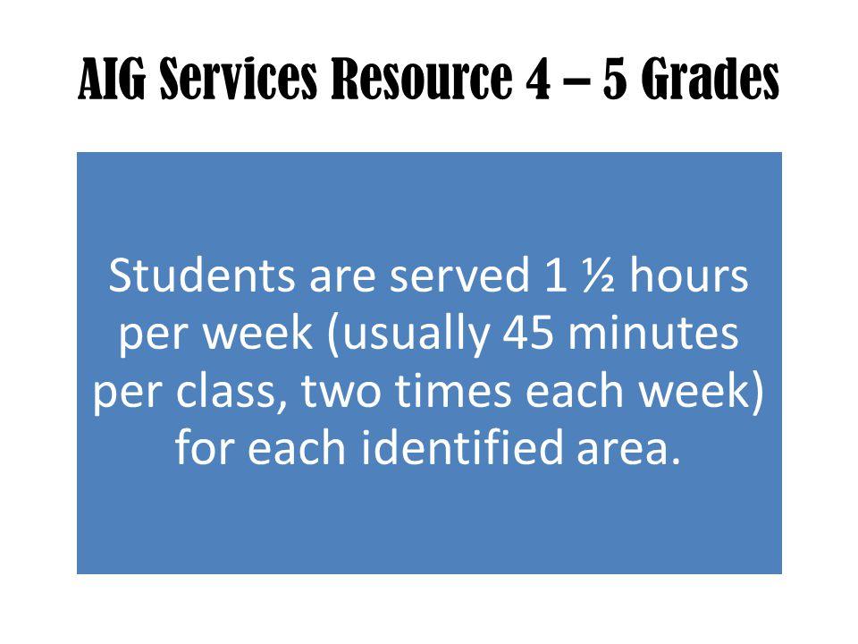 AIG Services Resource 4 – 5 Grades