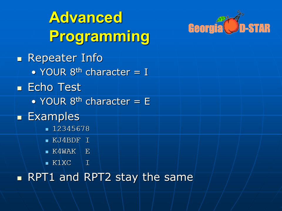 Advanced Programming Repeater Info Echo Test Examples