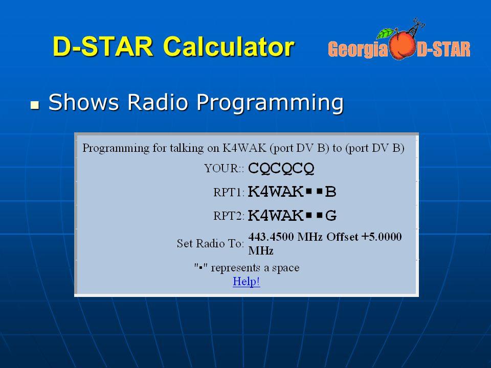 D-STAR Calculator Shows Radio Programming