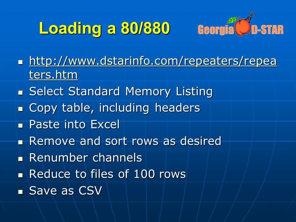 Loading a 80/880 http://www.dstarinfo.com/repeaters/repeaters.htm