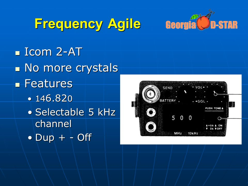 Frequency Agile Icom 2-AT No more crystals Features