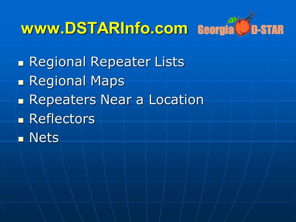 www.DSTARInfo.com Regional Repeater Lists Regional Maps