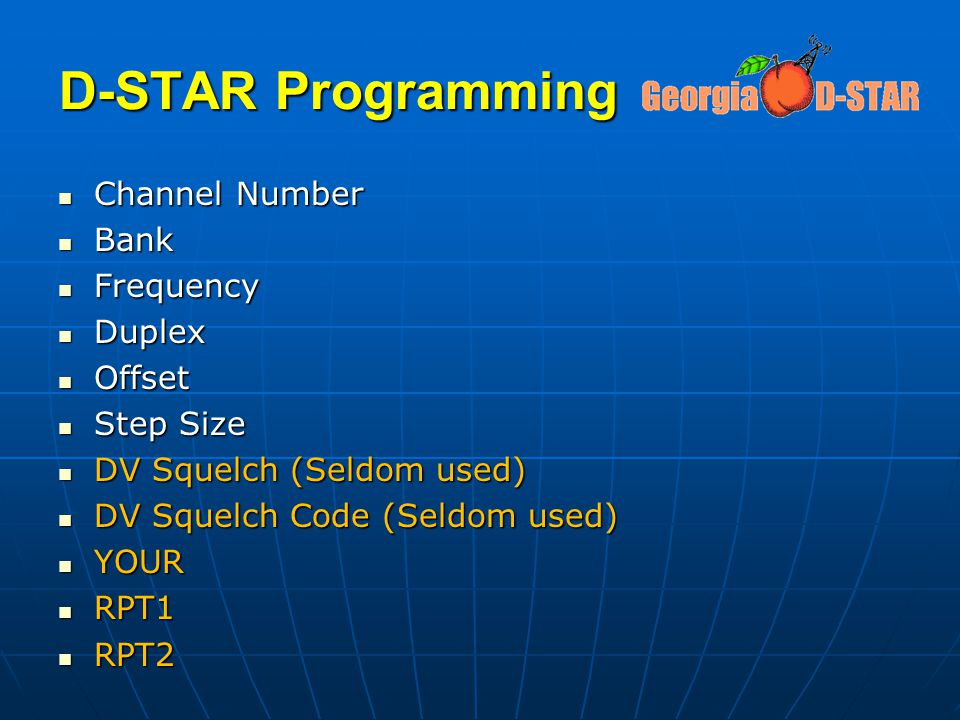 D-STAR Programming Channel Number Bank Frequency Duplex Offset