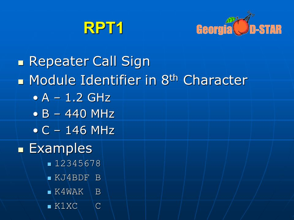 RPT1 Repeater Call Sign Module Identifier in 8th Character Examples