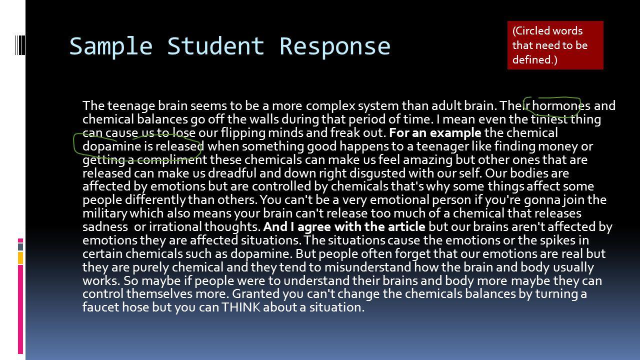 Sample Student Response