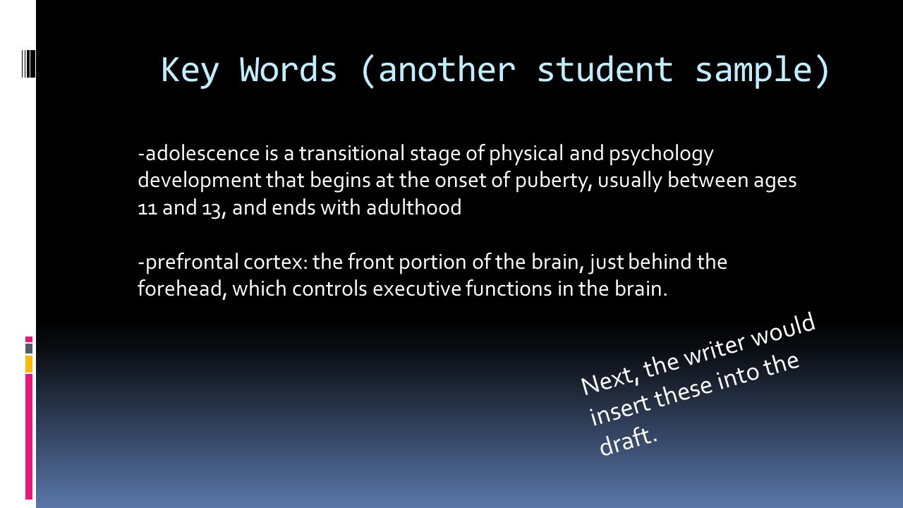 Key Words (another student sample)