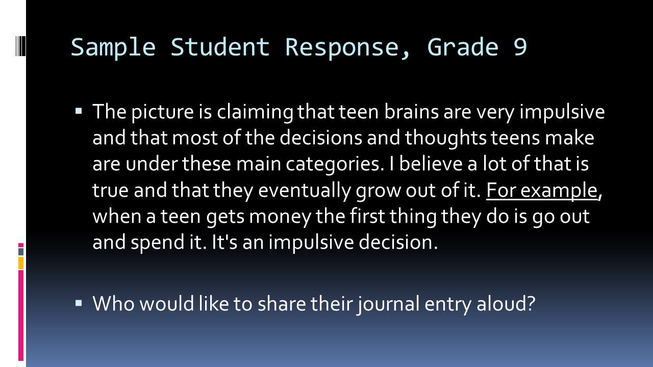 Sample Student Response, Grade 9
