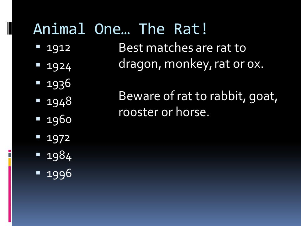 Animal One… The Rat! 1912. 1924. 1936. 1948. 1960. 1972. 1984. 1996. Best matches are rat to dragon, monkey, rat or ox.