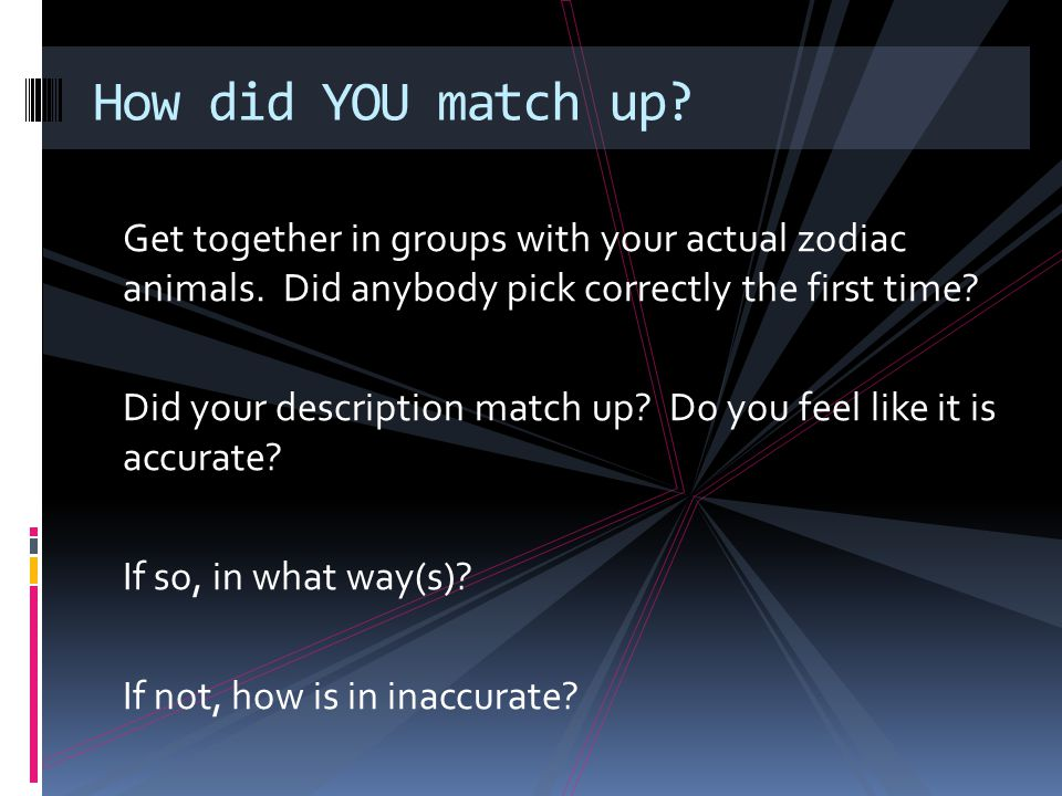 How did YOU match up Get together in groups with your actual zodiac animals. Did anybody pick correctly the first time