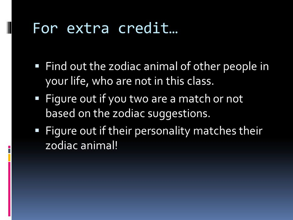 For extra credit… Find out the zodiac animal of other people in your life, who are not in this class.