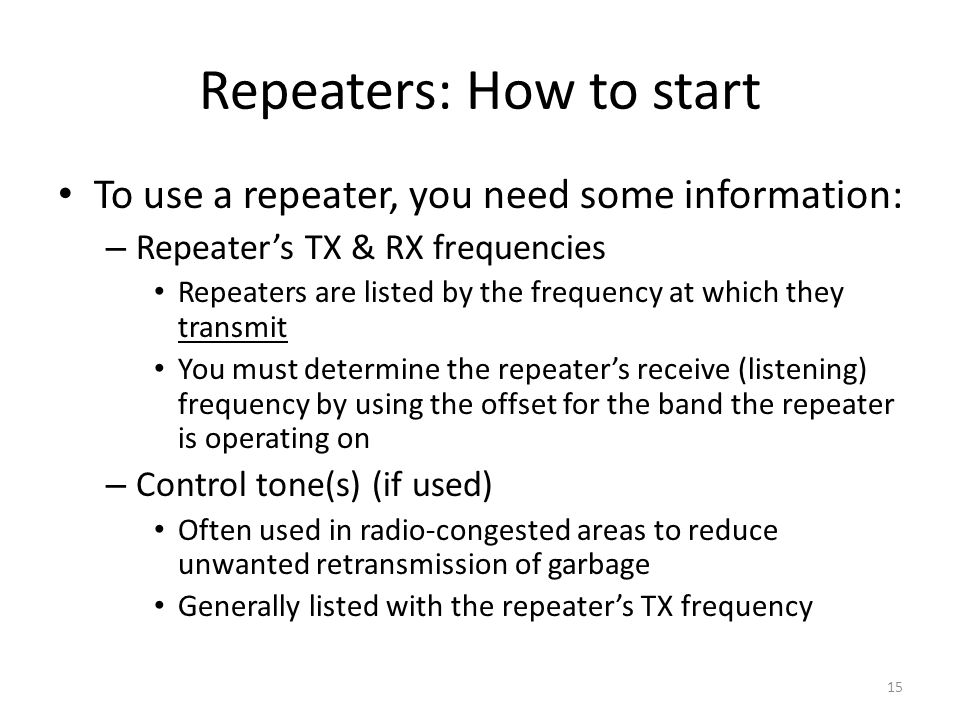 Repeaters: How to start