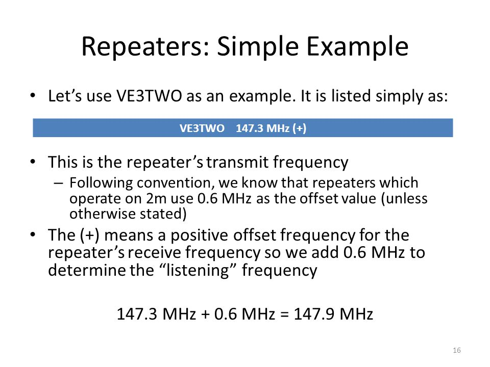 Repeaters: Simple Example