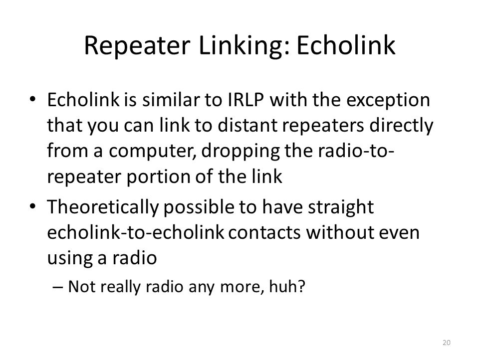 Repeater Linking: Echolink