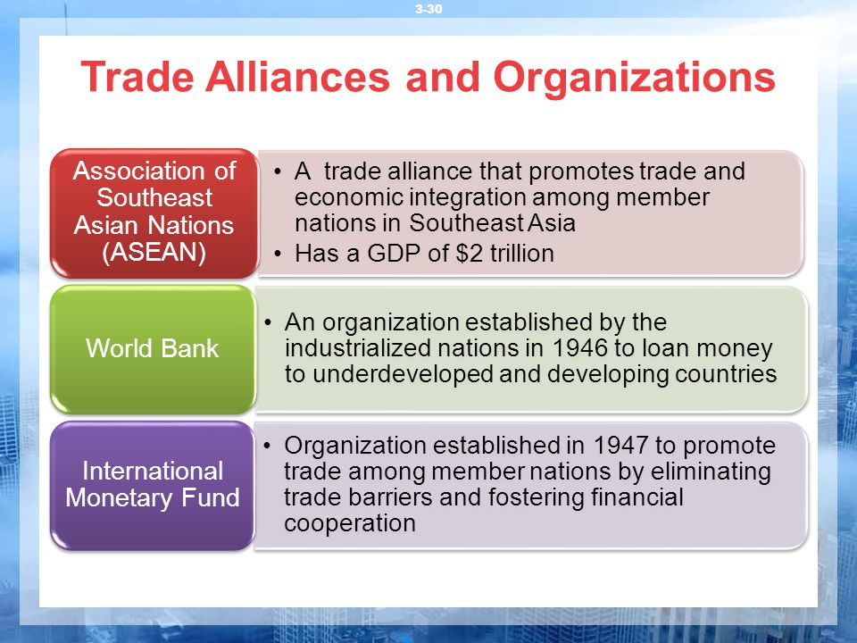 Trade Alliances and Organizations