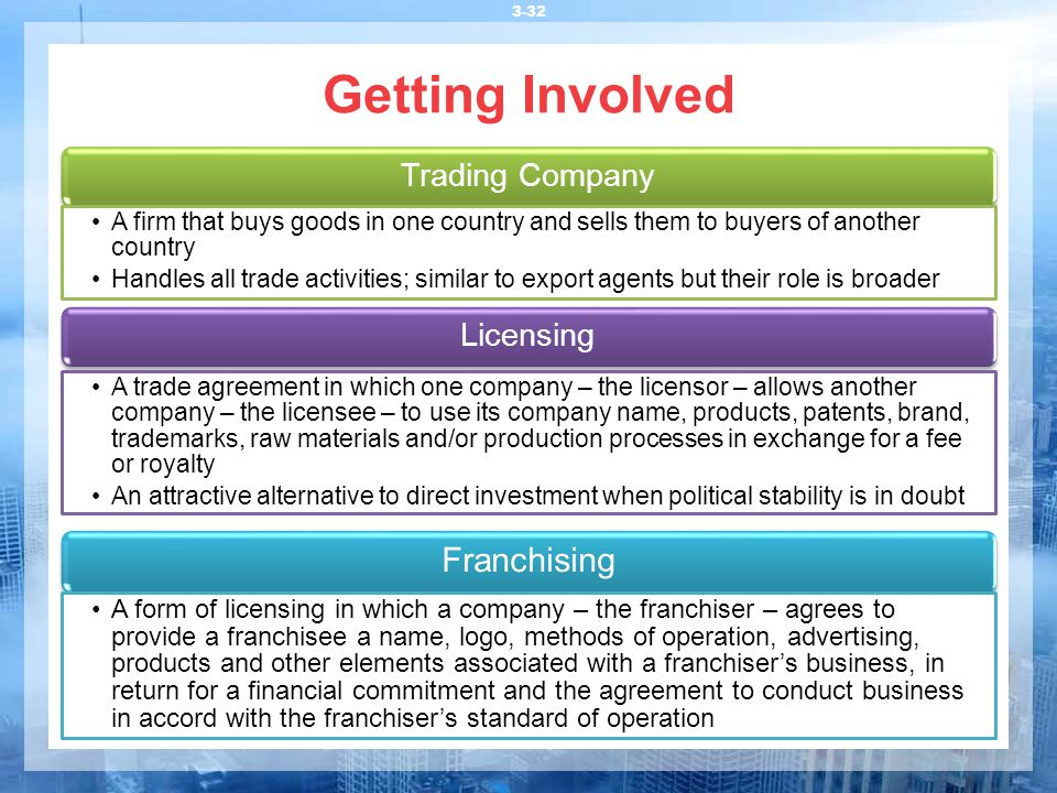 Getting Involved Trading Company. A firm that buys goods in one country and sells them to buyers of another country.