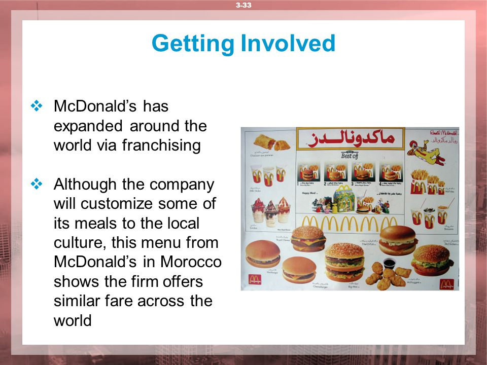 Getting Involved McDonald's has expanded around the world via franchising.