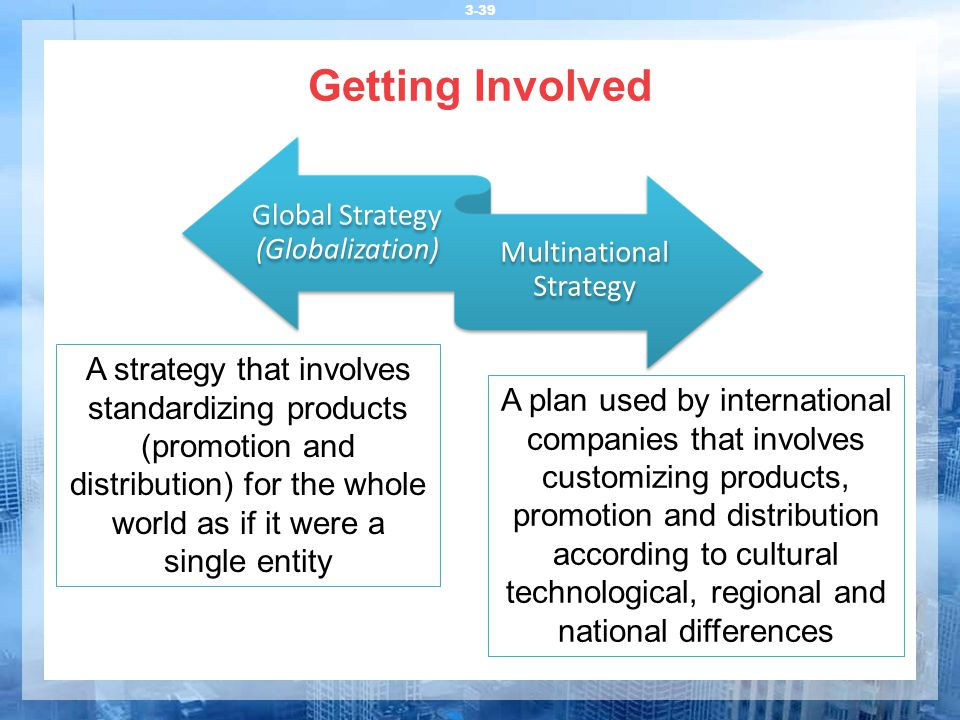 Getting Involved Global Strategy (Globalization) Multinational Strategy.