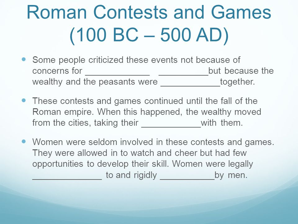 Roman Contests and Games (100 BC – 500 AD)