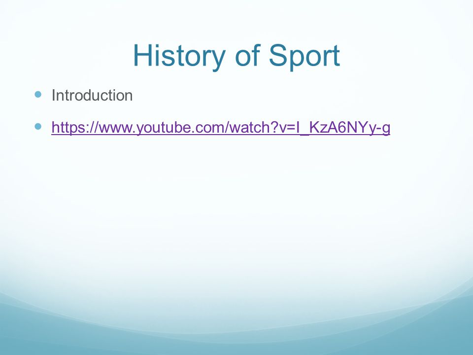 History of Sport Introduction