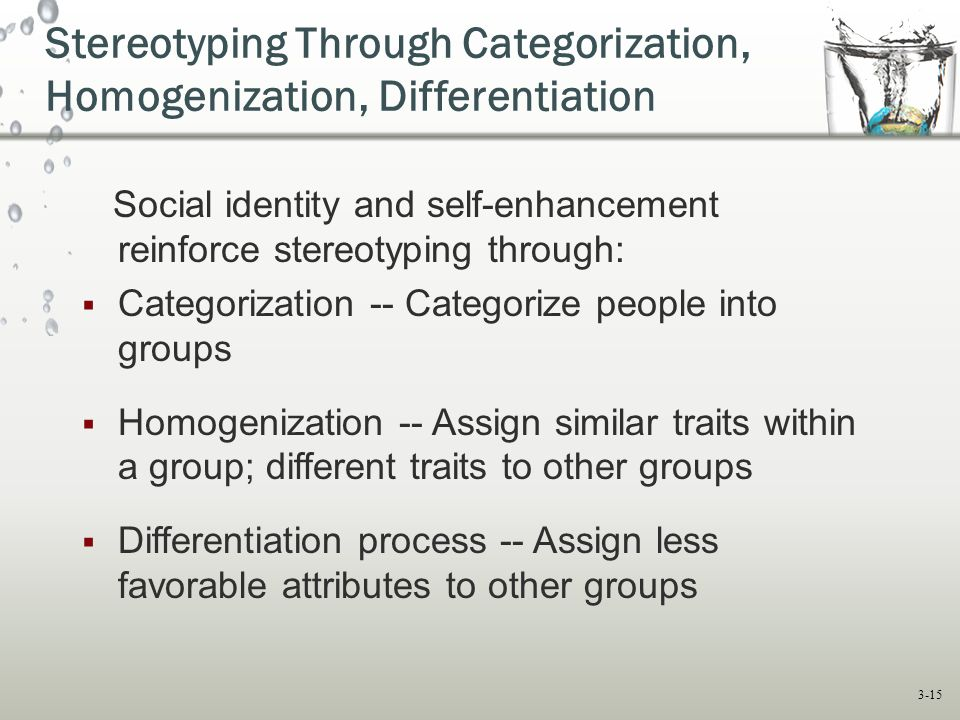 Stereotyping Through Categorization, Homogenization, Differentiation
