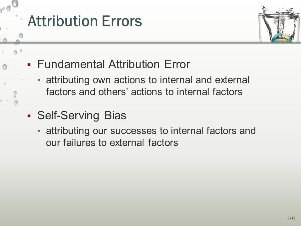 Attribution Errors Fundamental Attribution Error Self-Serving Bias